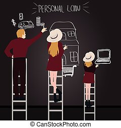 personal loan debt people in family try to get what they want reach by ladder from house money laptop