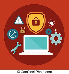 anti virus security computer locked shield flat illustration...