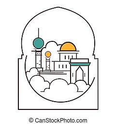 mosque dome minaret illustration line outline style icon of...