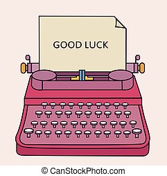 good luck type writer thin line style illustration vector