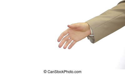 A Business Handshake with White Background, Two men shake...