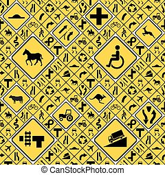Different yellow road signs seamless pattern