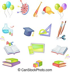 icons School theme - Set of vector colored icons School...