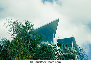 modern corporate building rooftop and trees