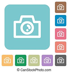 Flat camera icons on rounded square color backgrounds.