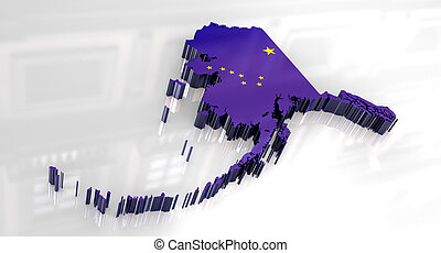 3d Flag map og Alaska - 3d made - Flag map og Alaska