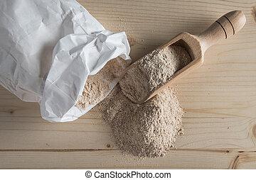 Whole Wheat Flour on Table Top - Spelt