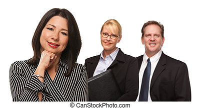 Hispanic Woman In Front of Businesspeople on White