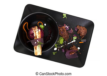 Molecular Cuisine Delicious soup with beetroot - Molecular...