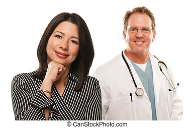 Hispanic Woman with Male Doctor or Nurse - Attractive...