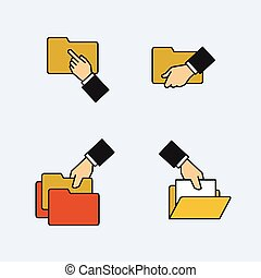 Folder icons with hands