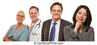 Hispanic Woman with Husband and Male Doctors or Nurses