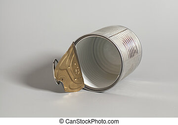 Open an empty tin can on gray background