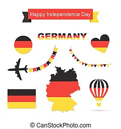 Germany flag decoration elements. Banners, labels, ribbons,...