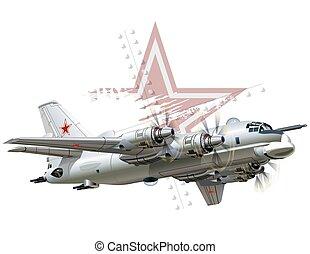 Cartoon Military Airplane - Vector Cartoon Bomber Available...
