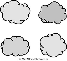 Vector cloud hand-drawn speech or weather symbol