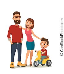 Happy family. Hipster in the yellow shoes and a red shirt. -...