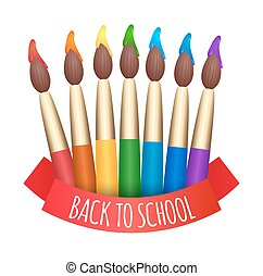 Set of rainbow brushes to paint and ribbon back to school. Vector element for your creativity