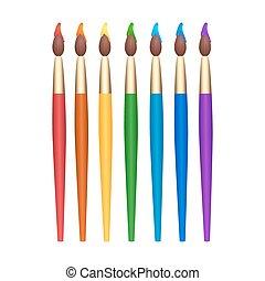 Set of rainbow paint brushes.
