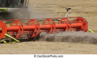 green red working harvesting combin