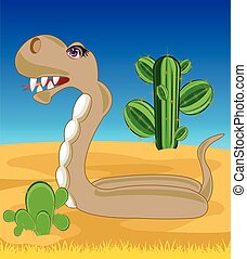 Snake in desert - The Reptile snake in desert with...
