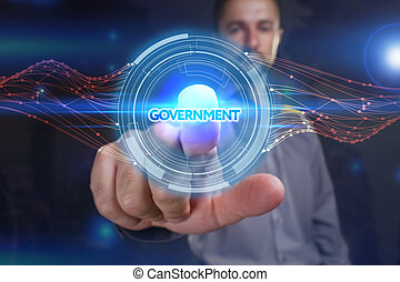 Business, Technology, Internet and network concept. Young business man chooses the virtual screen: government