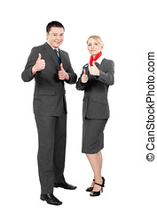 happy steward & stewardess making thumbs up signs isolated...