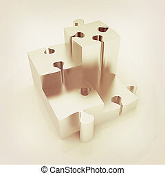 Concept of growth of metall puzzles 3D illustration Vintage...