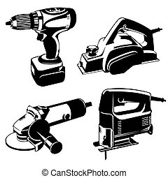 power tools - set of black and white images of the power...