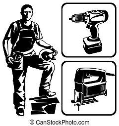 worker and tools - Vector stencil image. An worker with a...