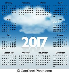English Calendar for 2017 year with clouds