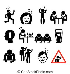 Drunk man and woman icons - Party, celebration, pub icons -...