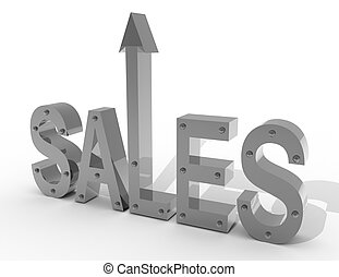 3d sales up concept. business illustration  on white background