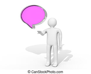 talk balloon on white background Isolated 3D image