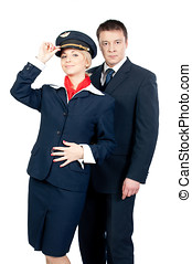 flight attendants - male & female flight attendants isolated...