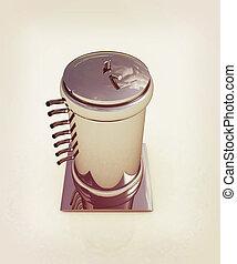 3d abstract metal pressure vessel. 3D illustration. Vintage...