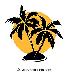 Tropical paradise palm trees and sun logo