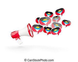 Megaphone with flag of antigua and barbuda isolated on white...
