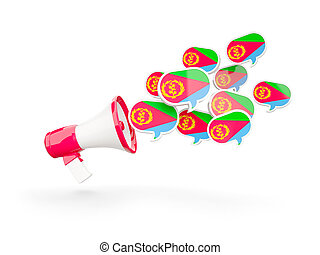 Megaphone with flag of eritrea isolated on white. 3D...