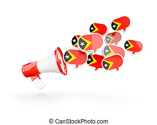 Megaphone with flag of east timor isolated on white 3D...