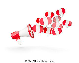 Megaphone with flag of peru isolated on white 3D...