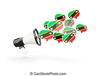 Megaphone with flag of saint kitts and nevis