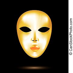 abstract golden mask - black background and the large golden...