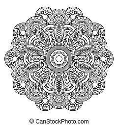 Doodle boho floral motif, coloring pages template Vector...