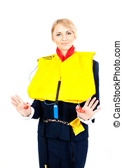 stewardess in a life jacket - female steward showing how to...