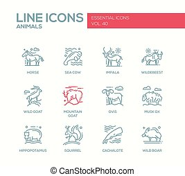 Animals - line design icons set - Animals - set of modern...