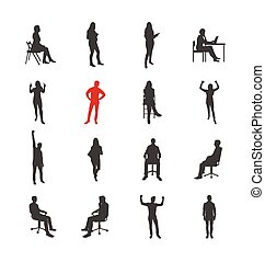 People, male, female silhouettes in different casual common poses