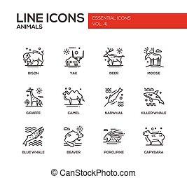 animais, -, linha, desenho, ícones, jogo