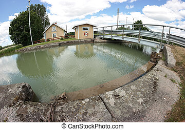 Gota Canal - Fish-eye photo of G?ta Canal and its...