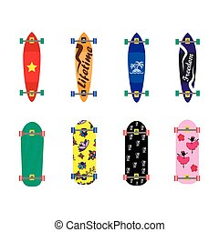 Set of skateboards on white background, vector illustration